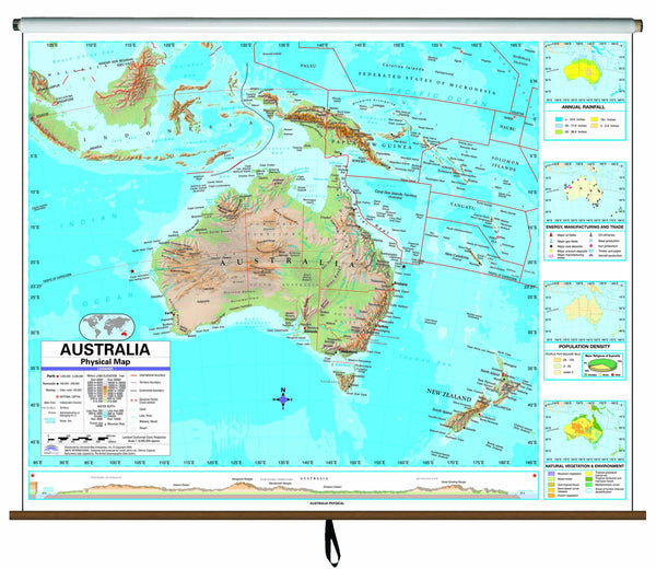 Australia Advanced Physical Classroom Wall Map on Roller