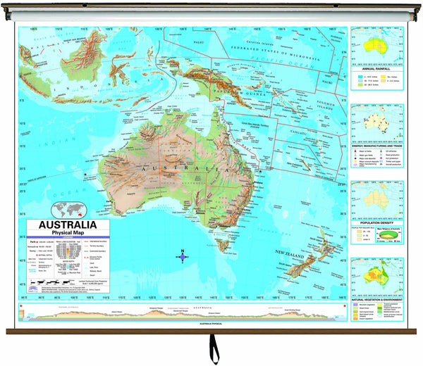 Australia Advanced Physical Classroom Wall Map on Roller w/ Backboard