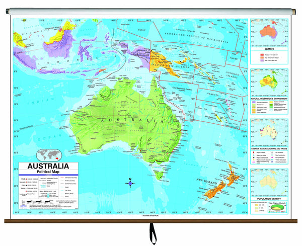 Australia Advanced Political Classroom Wall Map on Roller