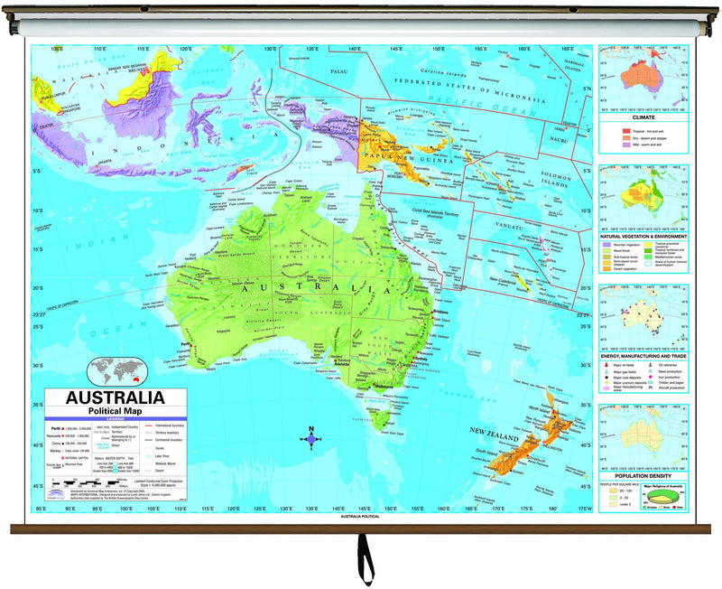 Australia Advanced Political Classroom Wall Map on Roller w/ Backboard