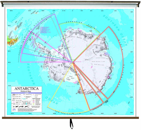 Antarctica Advanced Political Classroom Wall Map on Roller w/ Backboard
