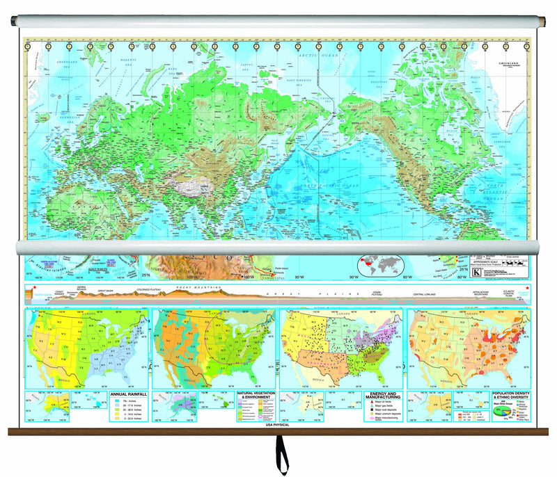 US/World Advanced Physical Classroom Combo Wall Map on Roller