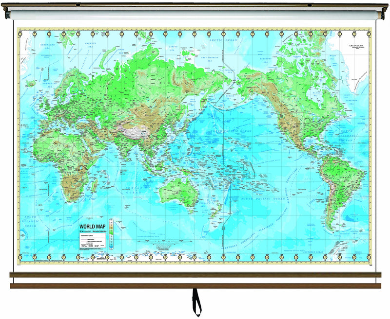 Advanced Physical Wall Map Set on Roller w/ Backboard; 2-Map Custom