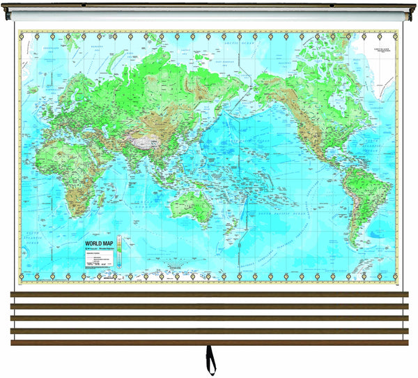Advanced Physical Wall Map Set on Roller w/ Backboard; 5-Map Custom
