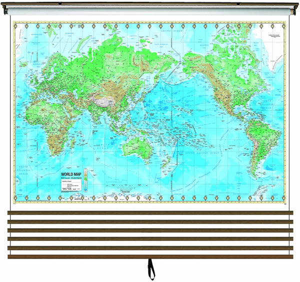 Advanced Physical Wall Map Set on Roller w/ Backboard; 6-Map Custom