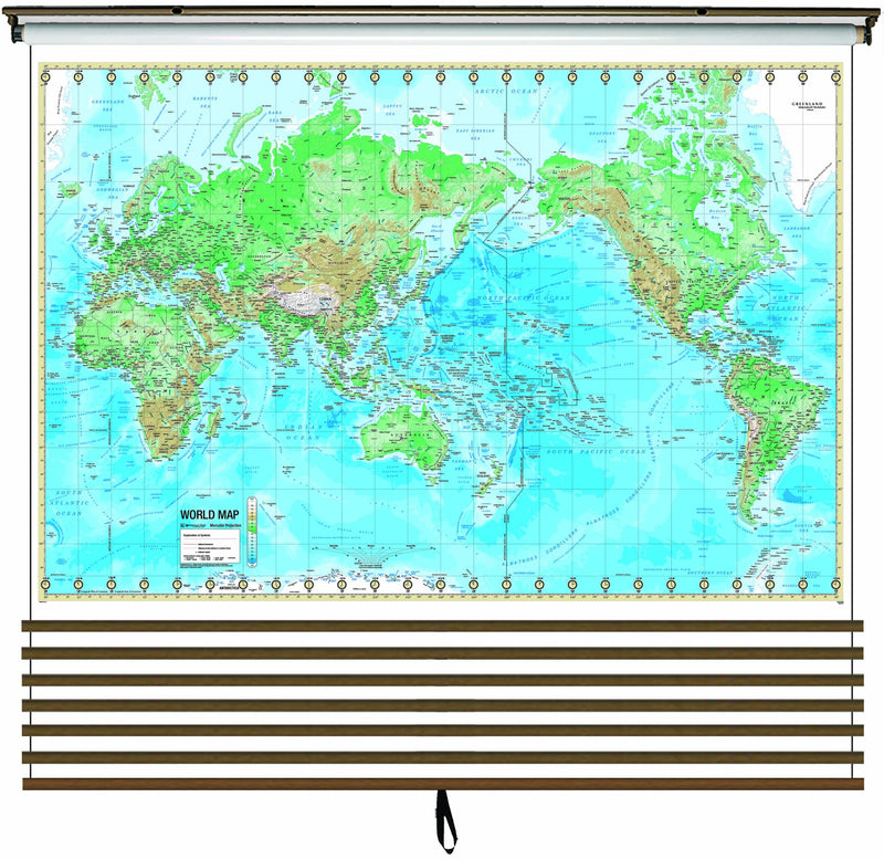Advanced Physical Wall Map Set on Roller w/ Backboard; 7-Map Custom