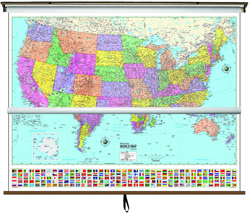 US/World Advanced Political Classroom Combo Wall Map on Roller w/ Backboard
