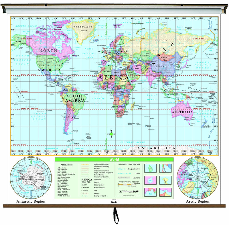 World Essential Classroom Wall Map on Roller w/ Backboard