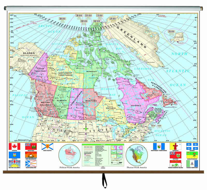 Canada Essential Classroom Wall Map on Roller