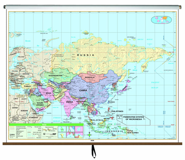 Asia Essential Classroom Wall Map on Roller