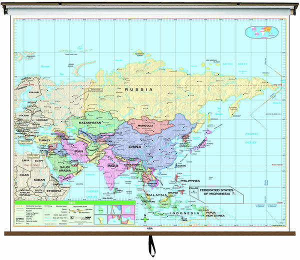 Asia Essential Classroom Wall Map on Roller w/ Backboard