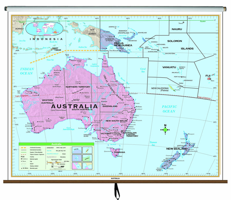 Australia Essential Classroom Wall Map on Roller
