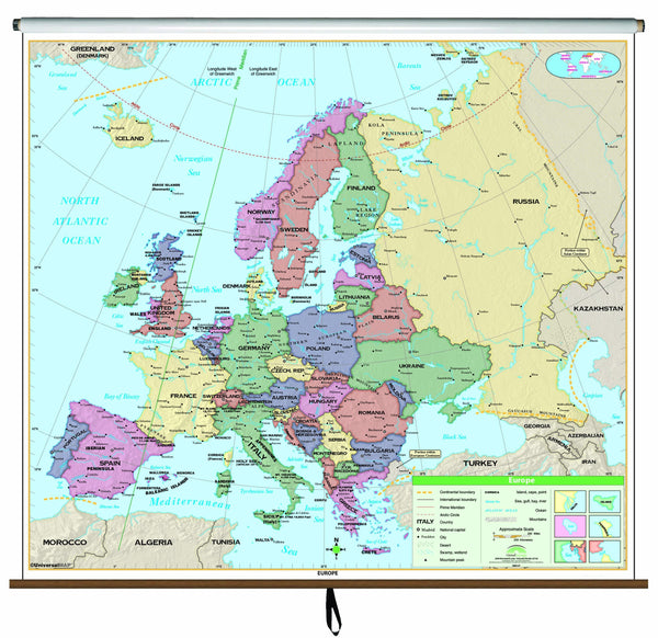 Europe Essential Classroom Wall Map on Roller