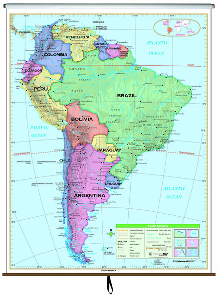 South America Essential Classroom Wall Map on Roller