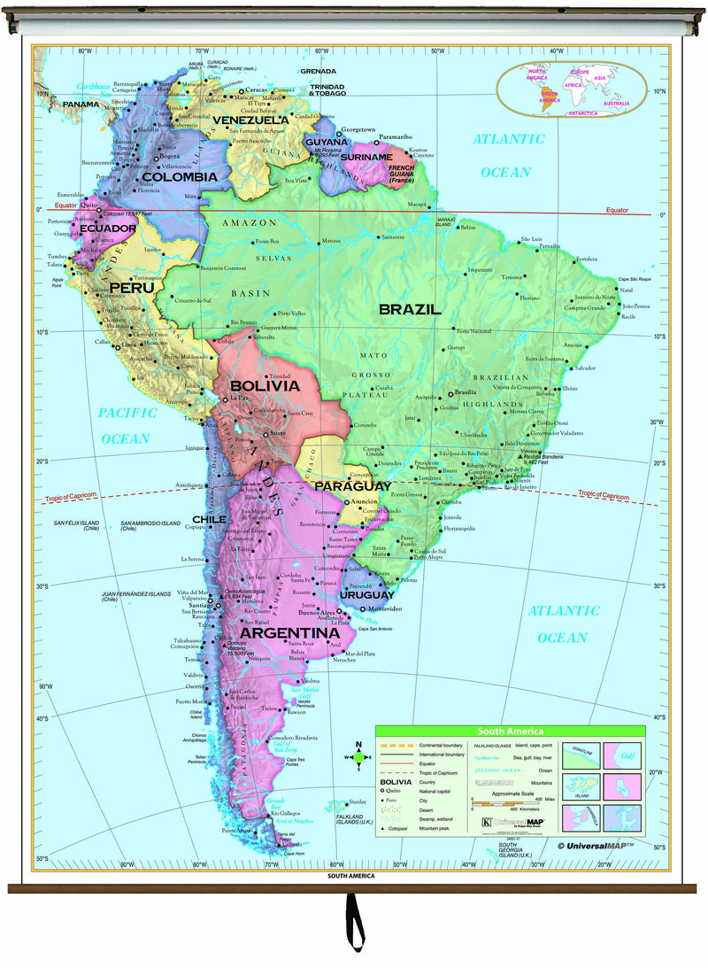 South America Essential Classroom Wall Map on Roller w/ Backboard
