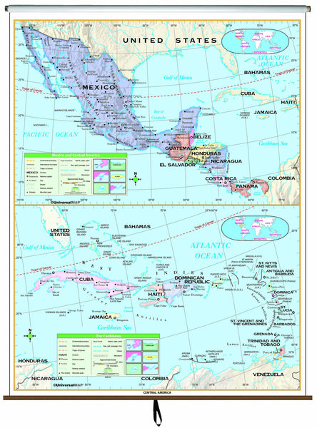 Central America Essential Classroom Wall Map on Roller
