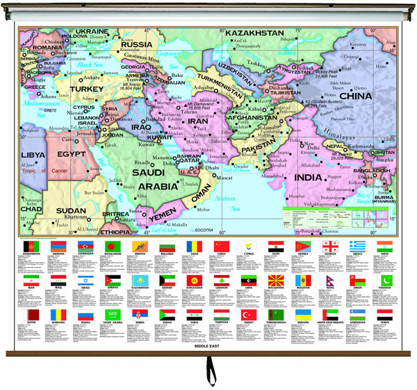 Middle East Essential Classroom Wall Map on Roller w/ Backboard