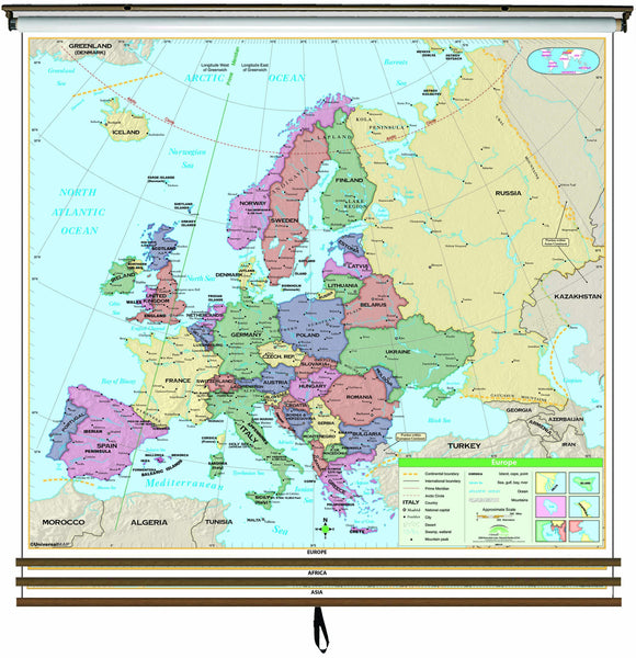 Eastern Hemisphere Essential Wall Map Set on Roller w/ Backboard; 3-Map Set