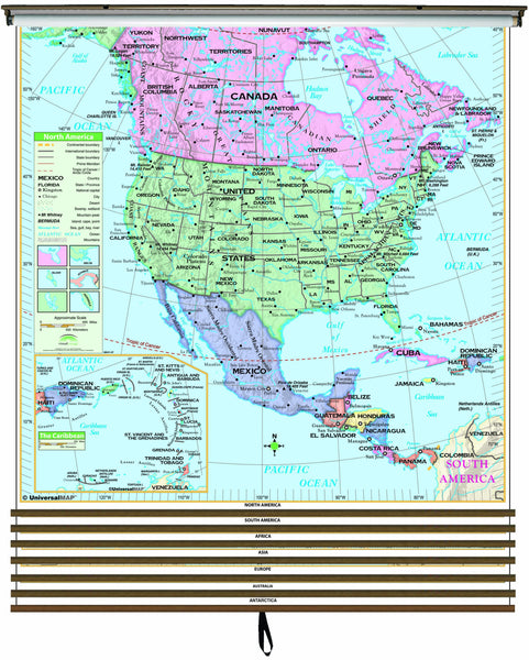 Essential Continent Wall Map Set on Roller w/ Backboard; 7-Map Set