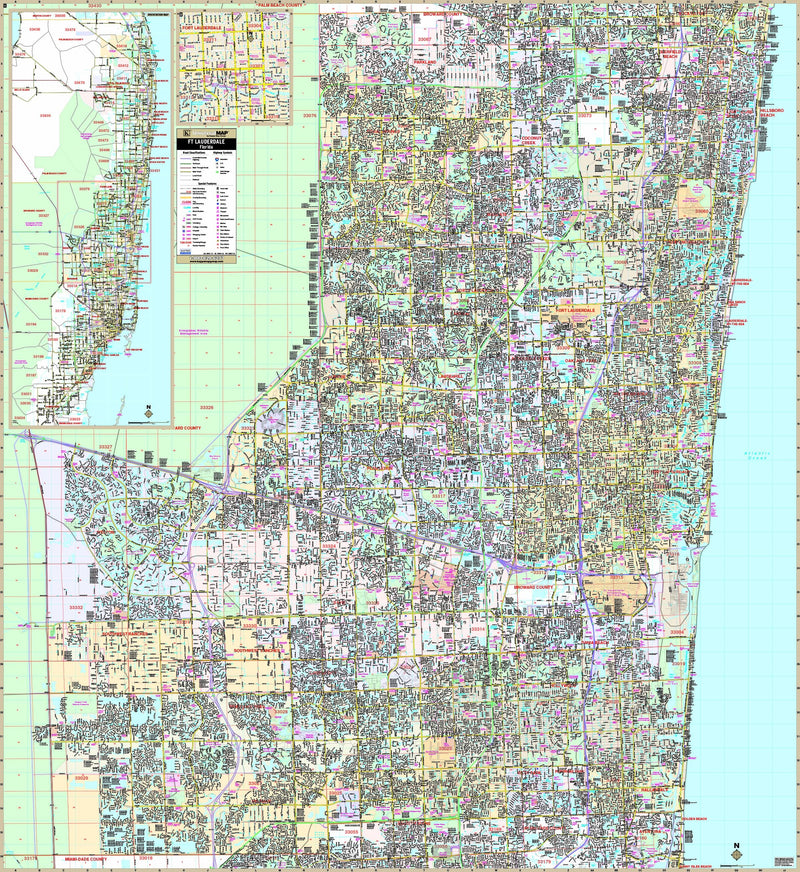 Fort Lauderdale & Broward Co, FL Wall Map
