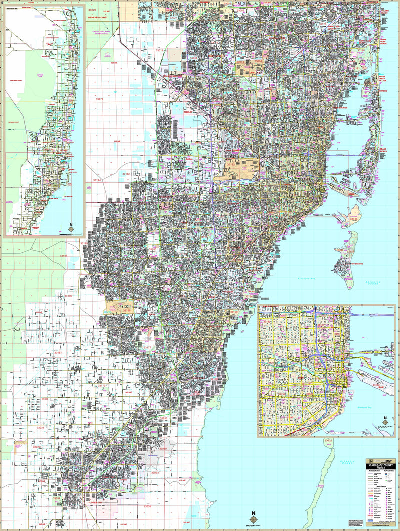 Miami-Dade County, FL Wall Map