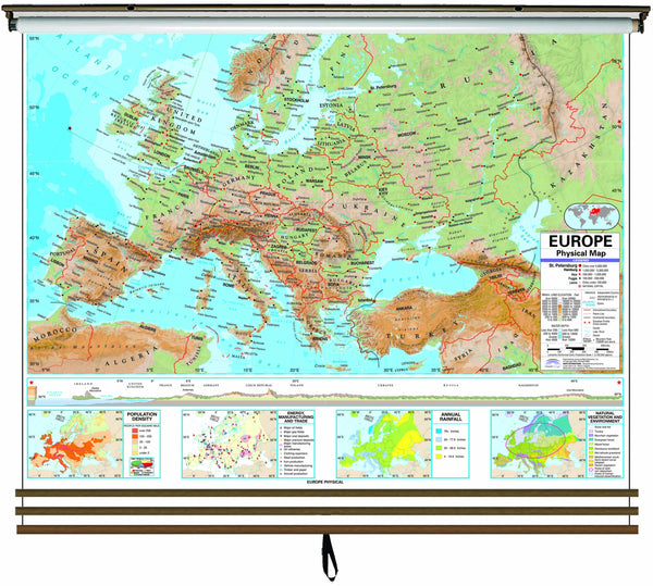 Eastern Hemisphere Advanced Physical Wall Map Set on Roller w/ Backboard; 3-Map Set