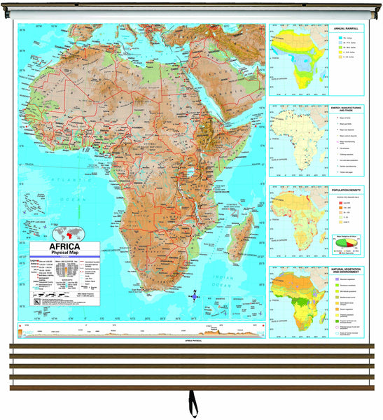 Advanced Physical Continent Wall Map Set on Roller w/ Backboard; 5-Map Set