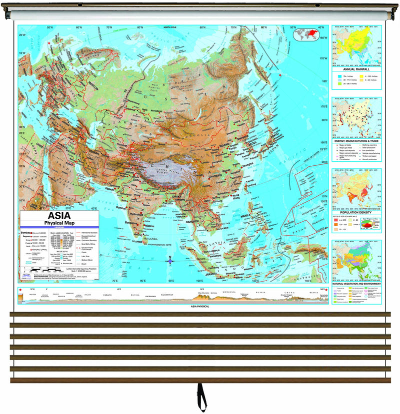 Advanced Physical Continent Wall Map Set on Roller w/ Backboard; 7-Map Set