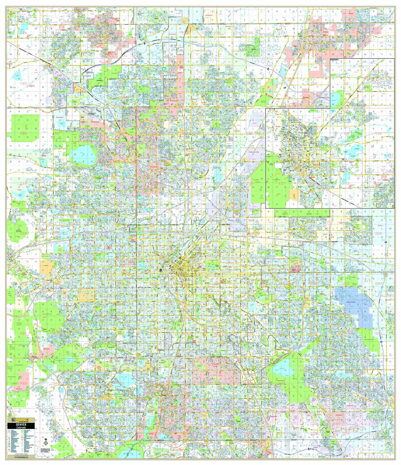 Denver & Boulder, CO Wall Map w/ Grid and ZIP Codes