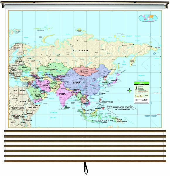 Primary Continent Wall Map Set on Roller w/ Backboard; 7-Map Set