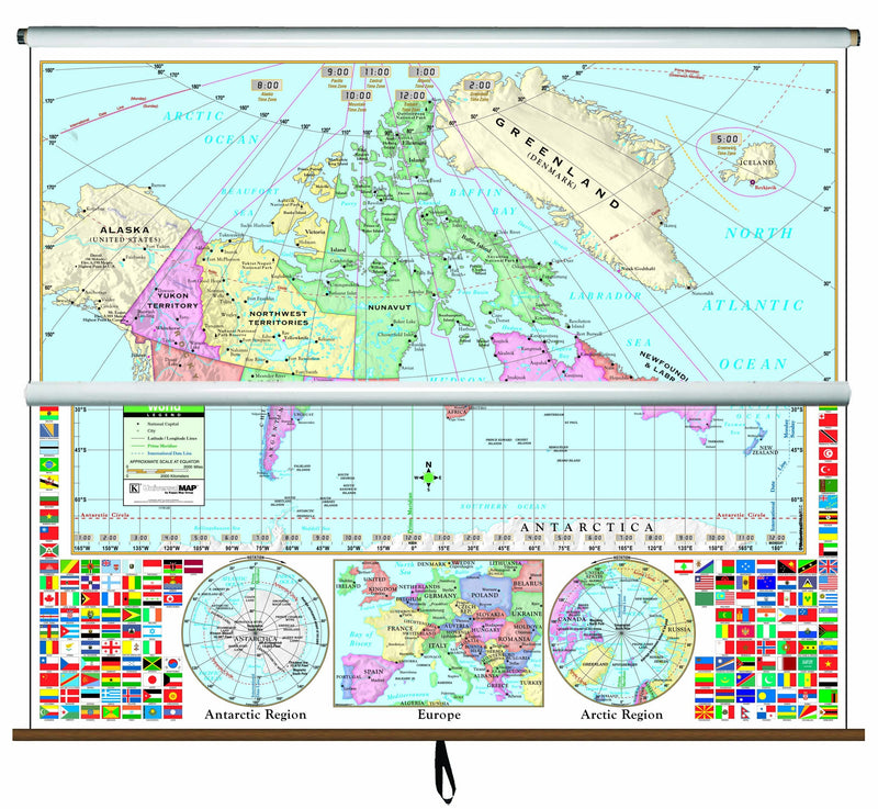 Canada/World Primary Combo Classroom Wall Map on Roller