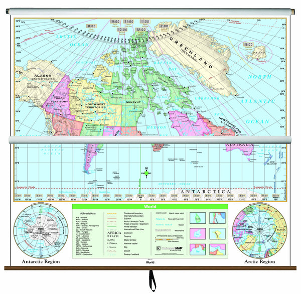 Canada/World Essential Combo Classroom Wall Map on Roller