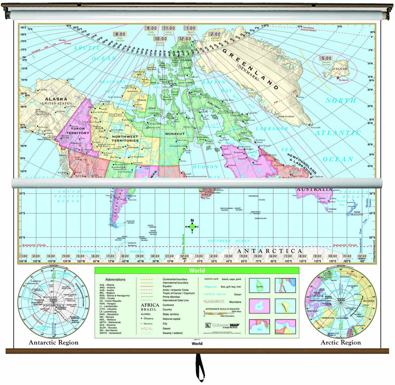 Canada/World Essential Combo Classroom Wall Map on Roller w/ Backboard