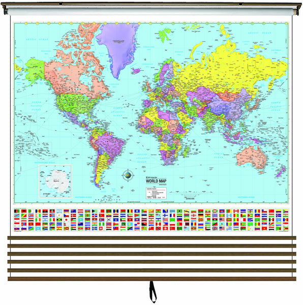 Advanced Political Wall Map Set on Roller w/ Backboard; 6-Map Custom