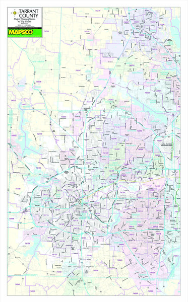 Dallas-Fort Worth, TX Major Thoroughfares Wall Map