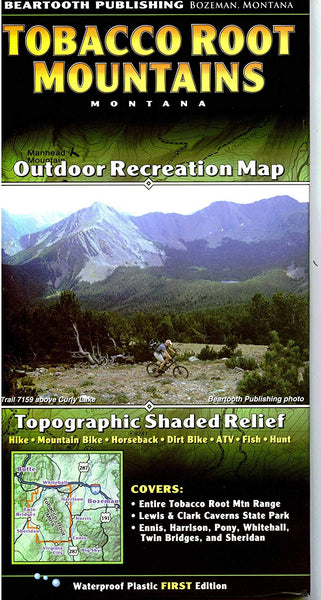Cover of Tobacco Root Mountains, Montana Outdoor Recreation Map with Topographic Shaded Relief by Beartooth Publishing
