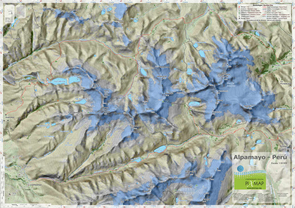 Cover of Cordillera Blanca Sur Topographic and Hiking Map by Pixmap