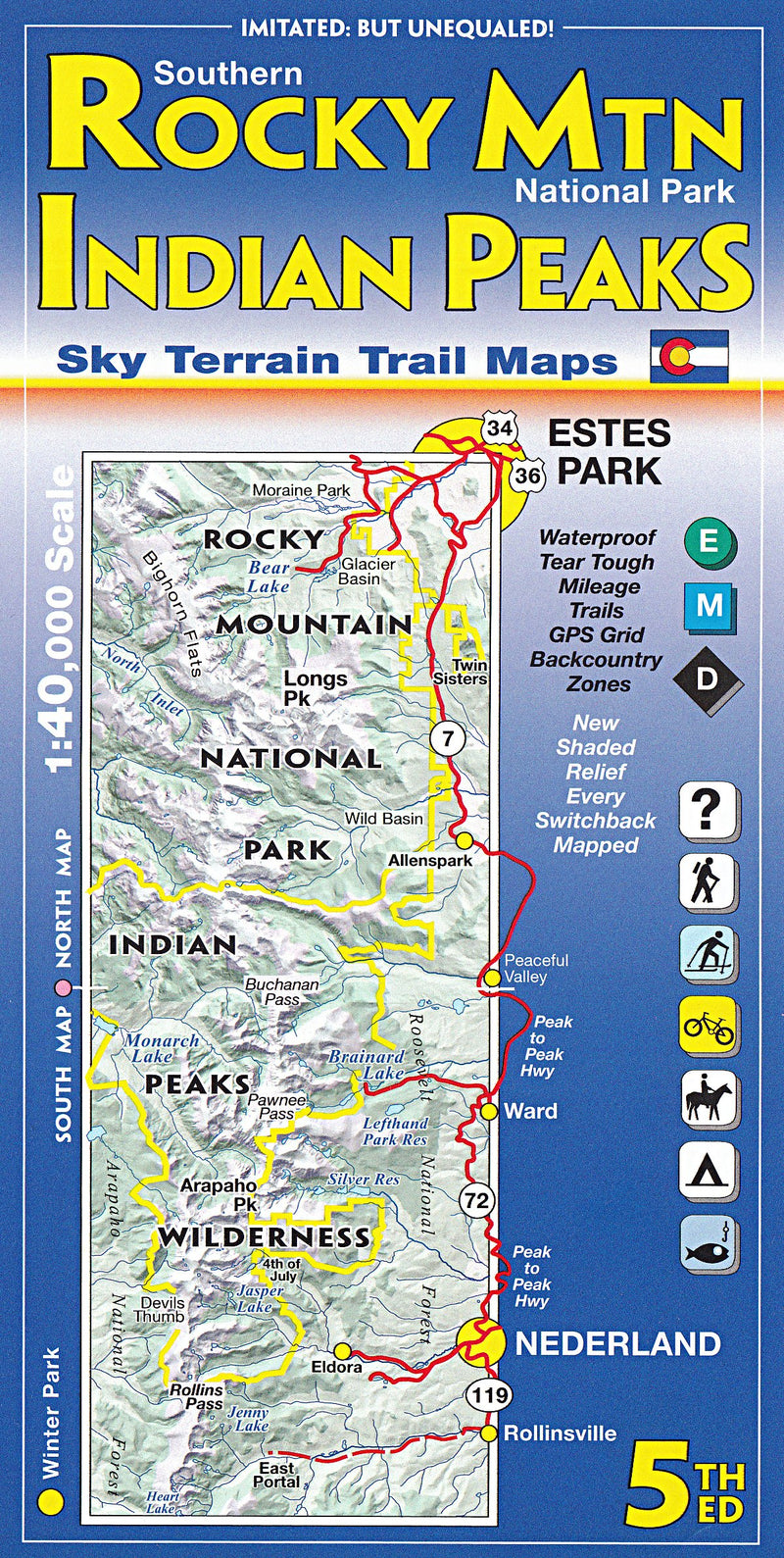 Cover of Southern Rocky Mountain National Park and Indian Peaks Hiking Map by Sky Terrain