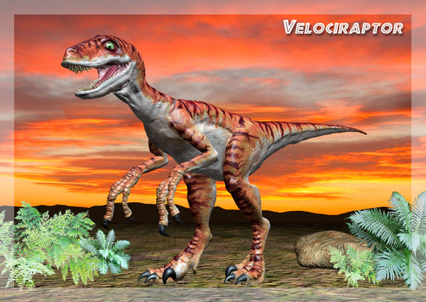 Cover of Velociraptor-3D-Greeting-Card-