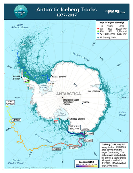 Antarctic Iceberg Tracks Map