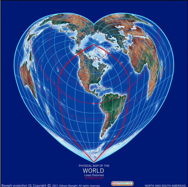 Heart-Shaped Equal Area Physical World Map, Americas-Centered by Equal Area Maps