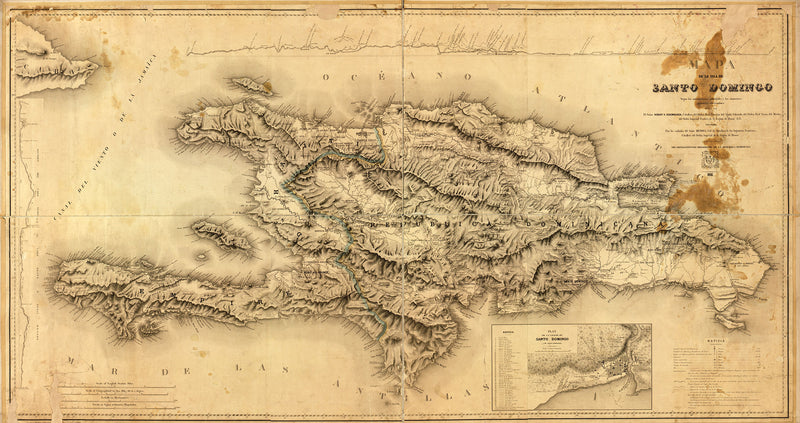 Antique Map of Hispaniola, Island of Santo Domingo (Dominican Republic and Haiti)
