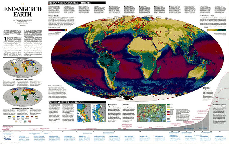 Endangered Earth Wall Map 1997 by National Geographic