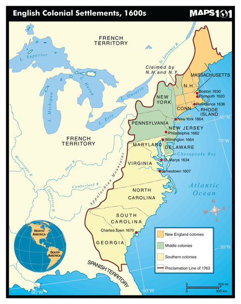 English Colonial Settlements, 1600's