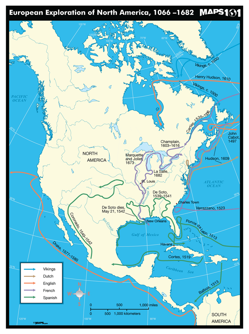 European Exploration of North America Map, 1066-1682 CE