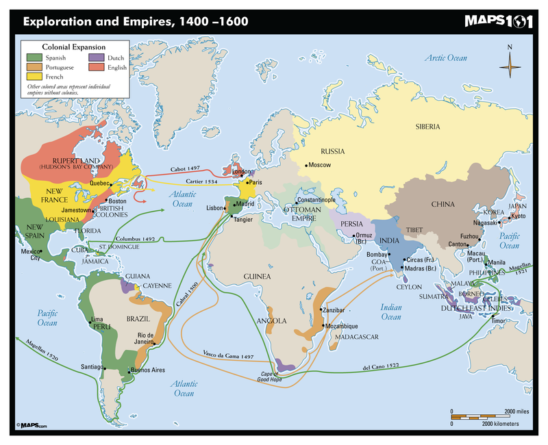 Exploration and Empires, 1400-1600 Map