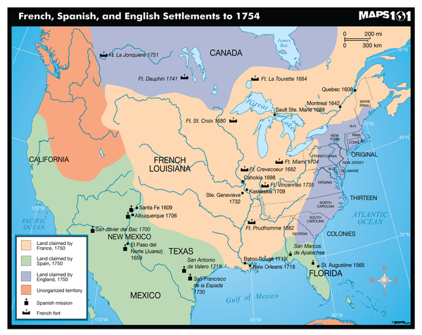 French, Spanish, and English Settlements to 1754 Map