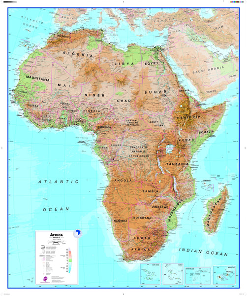 Africa Wall Map , Physical