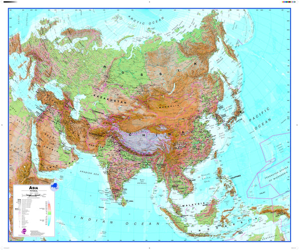 Asia Wall Map , Physical