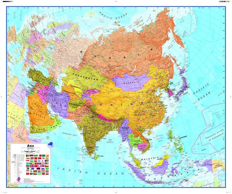 Asia Wall Map , Political